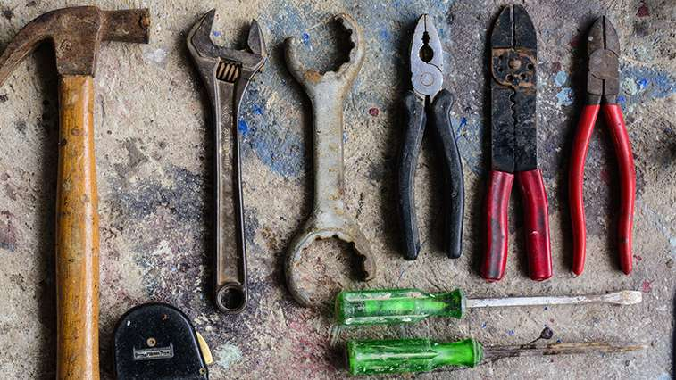 Well used set of home repair tools.